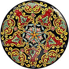 Ceramic Majolica decorative plate - Vario Ricco style