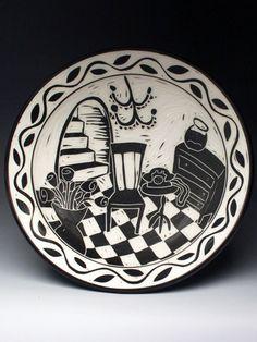 Karen Newgard Sgraffito Porcelain Interior Scene Plate at MudFire Gallery