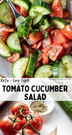 Salad Recipes Low Carb, Tomato Salad Recipes, Side Dish Recipes, Lunch Recipes, Keto Recipes, Healthy Recipes, Healthy Salads, Eating Healthy, Healthy Tips
