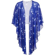 Gina Bacconi Oriental Flower Shawl, Carbon Blue (€48) ❤ liked on Polyvore featuring tops, cardigans, outerwear, jackets, sweaters, round top, blue floral top, blue cardigan, blue floral cardigan and blue top