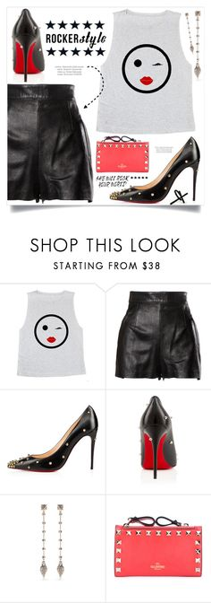 """Rocker Chic"" by anne-symanski-goranson ❤ liked on Polyvore featuring Moschino, Valentino, Emi Jewellery, rockerchic and rockerstyle"
