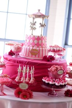 Pink carousel birthday party.