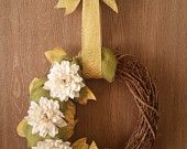 Spring Burlap and Vine wreath with yellow chevron hanger