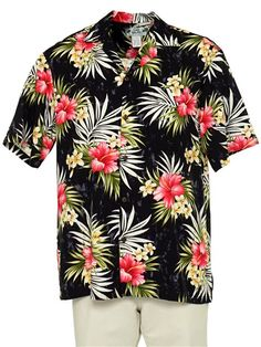578ca1760 Two Palms Hibiscus Plumeria Fern Black Rayon Men's Hawaiian Shirt Mens Hawaiian  Shirts, Palms,