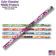Kids will love these Mood Color Changing Pencils with their School Name on them!  Promotional Mood Color Changing Splash Pencil   Customized Color Changing Pens   Promotional Color Changing Pens