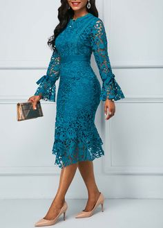 Material: Polyester Silhouette: A-Line Dress Length: Mid-Calf Sleeve Length: Long Sleeve Closure: Pullover Elasticity: Inelastic. Lace Dress Styles, African Lace Dresses, African Fashion Dresses, Marine Uniform, Plain Dress, Frack, Lace Dress With Sleeves, African Print Fashion, African Attire