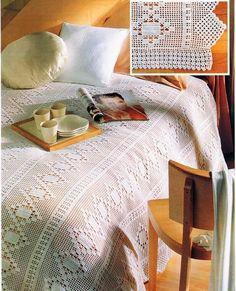 18 muestras de colchas tejidas a crochet ⋆ Manualidades Y DIYManualidades Y DIY Crochet Tablecloth Pattern, Crochet Bedspread, Cover Style, Manta Crochet, Tatting Lace, Crochet Squares, Filet Crochet, Bed Covers, Bed Spreads