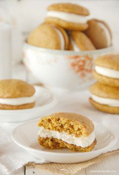 Carrot Cake Whoopie Pies with Almond Cream Cheese Frosting