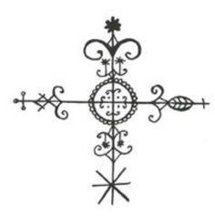 Papa Legba::Crossroads Vévé - key symbol in Voodoo; the place where the physical and spirit world intersect, and also where polarities meet Esoteric Symbols, Religious Symbols, Voodoo Tattoo, Voodoo Hoodoo, Voodoo Spells, Symbols And Meanings, Vegvisir, Book Of Shadows, Glyphs