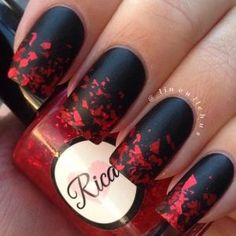 Blakc and red matte nails Instagram photo by lineullehus
