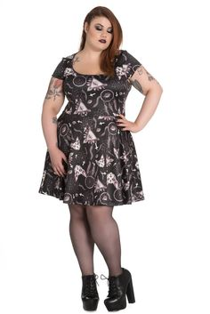 83ce18d3cd Hell Bunny Gothic Dark Side Sphynx Cat   Witchy Magic Skater Dress