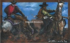 Artist, Wendell Brooks master collection of Black Cowboys captures the wild, wild west. You can almost feel the action of the Round- Up. Journey with us as we look through the eyes of Wendell Brooks. Black Cowboys, Black Art, Artist, Prints, Painting, Black Jeans, Painting Art, Printed, Paintings