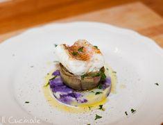 Filetto di scorfano, schiacciata di patata viola e gialla, carciofo stufato e acqua di mare