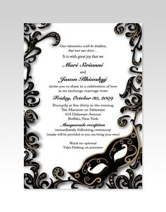 gorgeous black and white invitations for a masquerade wedding, also great for a party or ball