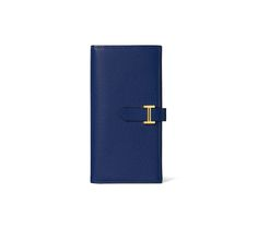 Béarn Hermes wallet with gusset in Mysore goatskin in bleu sapphire