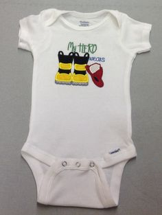 My Hero Wears Firefighter Onsie by QuiltingByKC on Etsy, $18.00