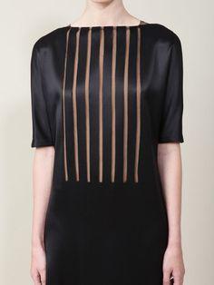 SILK TULLE INSET DRESS - akris
