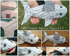 DIY Shark Pencil Pouch with Template #diy #crafts