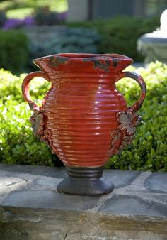 Chateau Handled Vase - The delightful antique Italian design of the Chateau handled vase lends a Tuscan flair to any decor with its warm red hue and classic grape accents. Tuscan Design, Tuscan Style, Olive Jar, Red Vases, Hanging Vases, Tuscan Decorating, Urn, Grape Vines, Old World