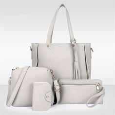 $0 - Cool 4Pcs/Set Women Faux Leather Handbag Shoulder Bag Tote Purse Messenger Clutch - Buy it Now!