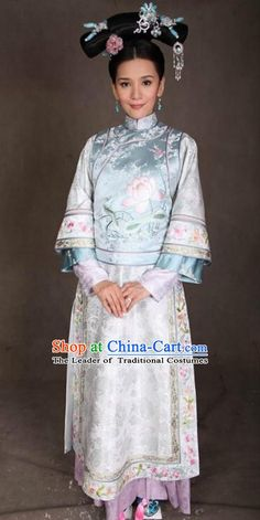 Ancient Chinese Qing Dynasty Manchu Kangxi Imperial Concubine Embroidered Historical Dress Costume for Women Chinese Style, Chinese Fashion, Chinese Art, Folk Costume, Costume Dress, Japanese Calligraphy, Historical Dress, Chinese Clothing, Qing Dynasty