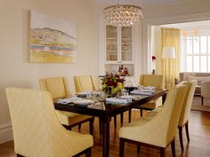 simple yet elegant dining space using yellow