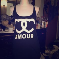 """Tank Black cotton tank with words """"amour"""" on it. Forever 21 Tops Tank Tops"""