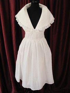 1950s WEDDING GOWN  | 1950s White seersucker shawl collar vintage wedding dress.