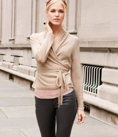 ballet cardigan (I'd need a different, non-skin tone color) + leather pants