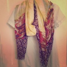 Anthropologie boho summer scarf wrap cover up 100% seta, yellow floral, red and cream paisley, and purplish/indigo block print with multicolored beads.  Would be a great sarong wrap or large scarf.  Beautiful and great quality Anthropologie Accessories Scarves & Wraps