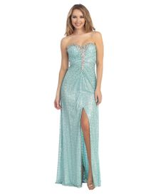 Mint Sequin & Stone Strapless Sweetheart Gown #uniquevintage #prom
