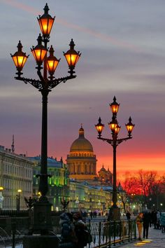 Dusk turning into twilight in St. Petersburg, Russia.
