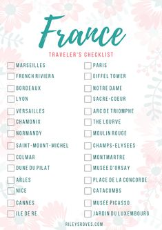 France Checklist | Things to Do in France | France Attractions | Visit France | France Bucket List | Riley's Roves Travel Bucket Lists, Paris Bucket List, Europe Bucket List, Bucket List Destinations, Travel List, Travel Goals, Travel Guide, Travel Destinations, Holiday Destinations