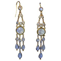 Antique Moonstone Drop Earrings, England, Circa 1900
