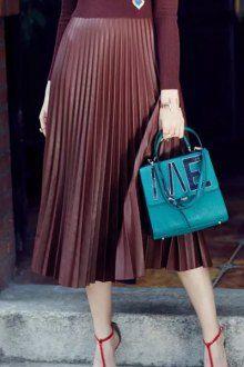 Leather High Waisted Pleated Skirt
