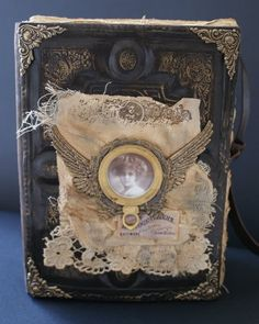 Nice mixed-media on this steampunk altered book.
