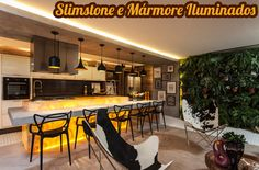 Slimstone e Mármore Ônix com retro iluminação – veja ideias maravilhosas!