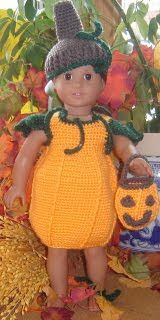 "Cute 18"" American Girl Doll Halloween pumpkin outfit. Free crochet pattern. Crochetville.com"