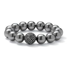 """Simulated Grey Pearl and Multi-Crystal Accent Black Ruthenium-Plated Stretch Bracelet 8"""""""