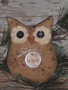Primitive Whimsical Halloween Hoot Owl Bowl Filler Ornie Shelf Sitter Tuck Doll #NaivePrimitive #ChooseMoosePrimitiveDesigns