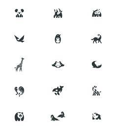 Negative space animal logos by Bodea Daniel.