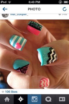 Like the design on the nail...I would round and shorten the nails myself.