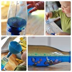 Sea in a bottle Fun Crafts To Do, Crafts For Kids, Party Deco, Baby Sensory Play, Ocean Crafts, Ocean Themes, Toddler Preschool, Painting For Kids, Summer Kids