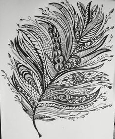 Zentangle feather for BuJo mood tracker Feather Art, Mandala Feather, Zentangle Patterns, Zentangles, Doodle Paint, Free Adult Coloring, Bleach Art, Bird Quilt, Simple Doodles