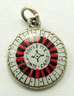 Silver & Enamel Roulette Wheel Charm Enamel Jewelry, Charm Jewelry, Jewlery, Vintage Charm Bracelet, Charm Bracelets, Love Charms, Lucky Charm, Silver Enamel, Silver Charms