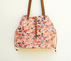 Rippled Chintz Tote Bag Leather Japanese Fabric by StarBags, $137.00