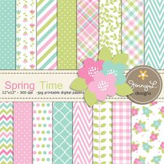 Spring Digital Papers and Flower Clipart by JennyLDesignsShop