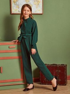 Girls Solid Buttoned Front Self Belted Jumpsuit - Girls Solid Buttoned Front Self Belted Jumpsuit Source by - Girls Fashion Clothes, Teen Fashion Outfits, Kids Outfits, Kids Fashion, Belted Shirt Dress, Tee Dress, Cute Dresses, Girls Dresses, Baby Girl Dress Patterns