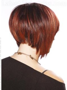 Hidden Stack Shaped Cut Brunette Style with Red Highlights Shaped Back