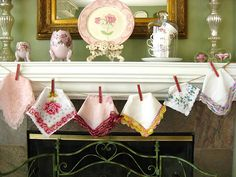 During Spring and Mother's Day I use vintage hankies on my mantel.